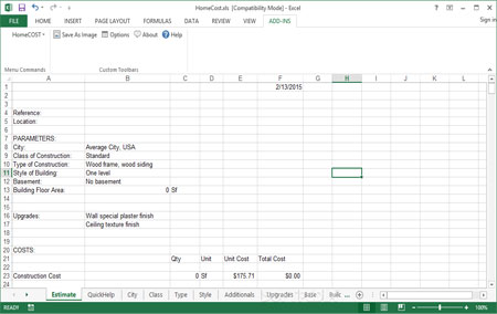 Download HomeCost Estimator for Excel FREE