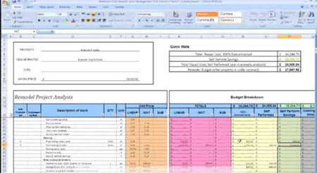 Remodel Cost Analysis & Project Management Calculator Tutorial