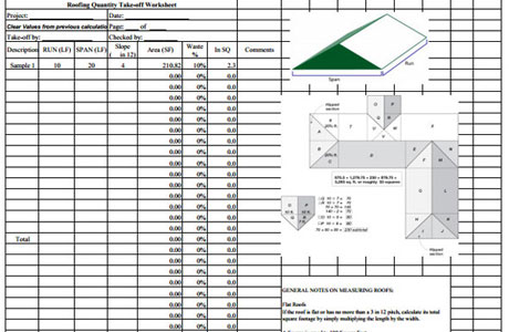 Download Roofing Quantity TakeOff Sheet | Construction Roof Estimating Template